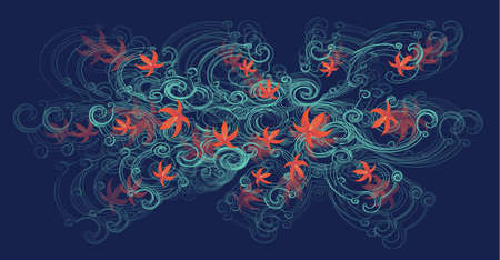 A beautiful tree branch with orange lily flowers on a dark blue background