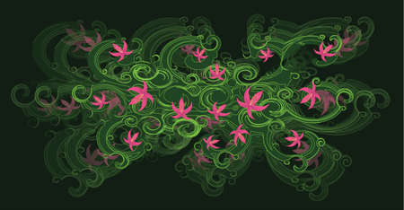 A beautiful tree branch with pink lily flowers on a dark green background