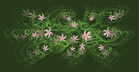 A beautiful tree branch with light pink lily flowers on a dark green background