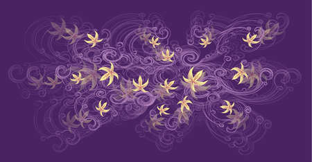 A beautiful tree branch with yellow lily flowers on a purple background  Ilustracja