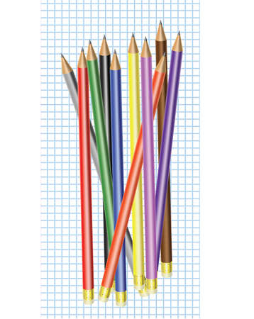 Differently colored pencils with eraser  on a graph paper   Ilustracja