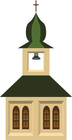 A beautiful isolated single retro church with door, windows and bell. Vector