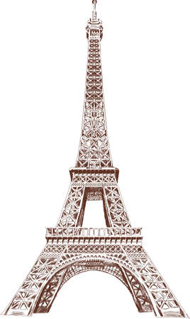 Eiffel Tour hand drawn with graphic tablet Ilustração