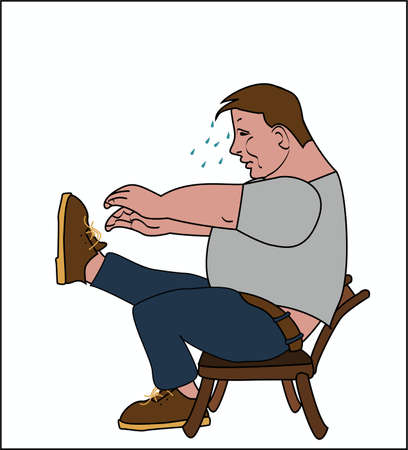 Fat man sitting on the chair can not tie shoelaces Ilustracja