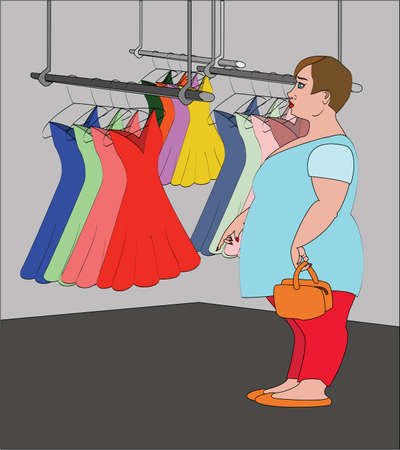 fat woman in a clothes store Illustration