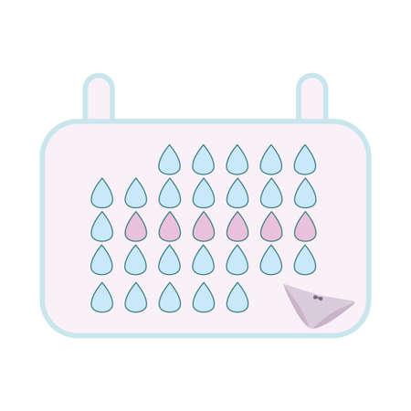 tampon: Menstruation calendar. Woman hygiene protection. Woman critical days Illustration