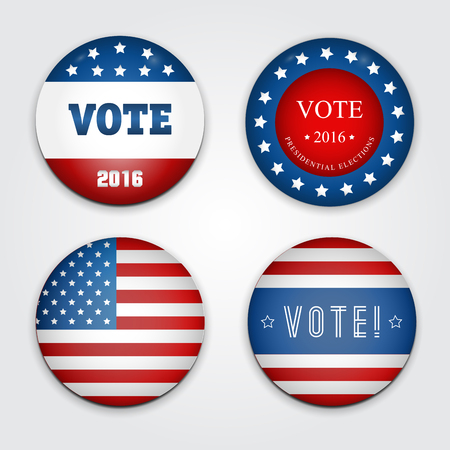 abstention: Vector Illustration of a set of four 2016 election buttons. Illustration