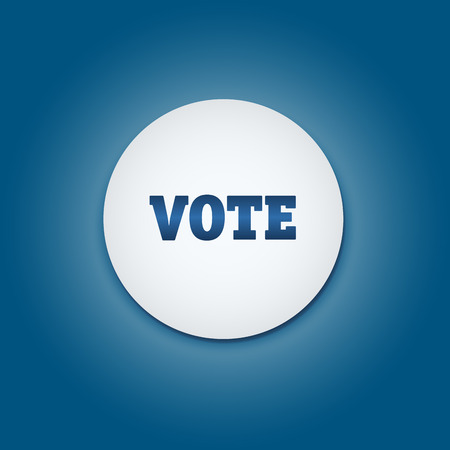 senate elections: Vote election campaign badge button. Presidential election. Illustration