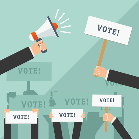 voting: Set of hands holding different signs. Voting concept. Vector illustration.