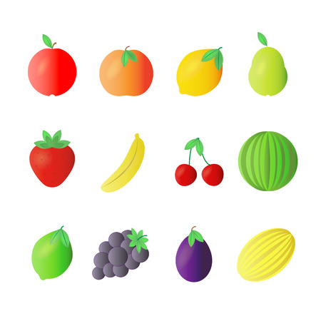 full color: Fruit full color flat design icon vector illustration.
