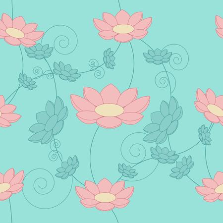 honeysuckle: Floral vintage seamless background. Blue and pink