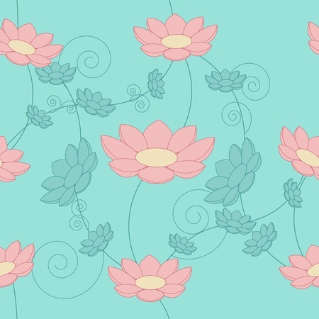 Floral vintage seamless background. Blue and pink