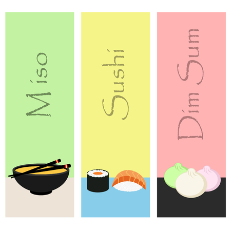 condiments: Sushi mini poster set with japanese meal fish and condiments isolated vector illustration.