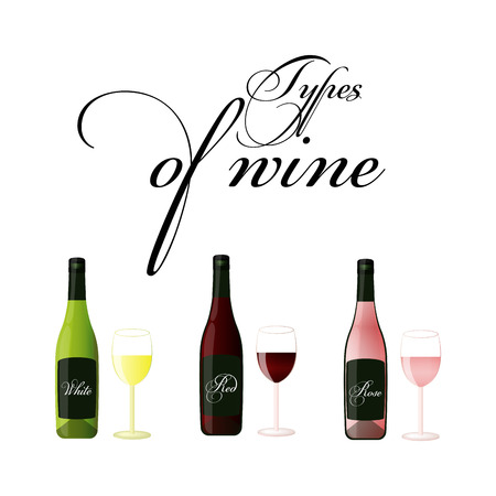 Bottles of wine - red, white and rose - vector drawing isolated.