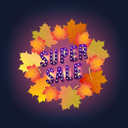 Super Sale banner. Autumn. Paper Design. Maple leaves.