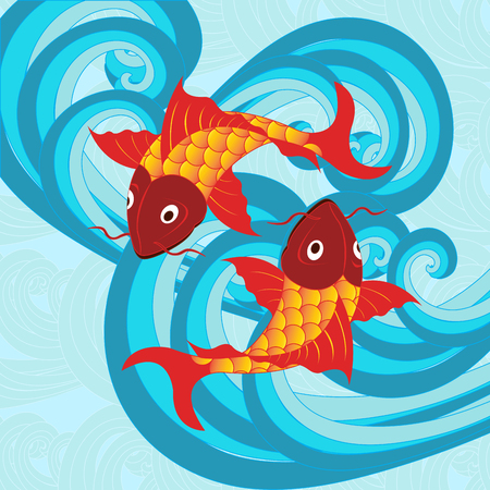 Vector illustration of a traditional Japanese carp fish on a background of blue sea waves