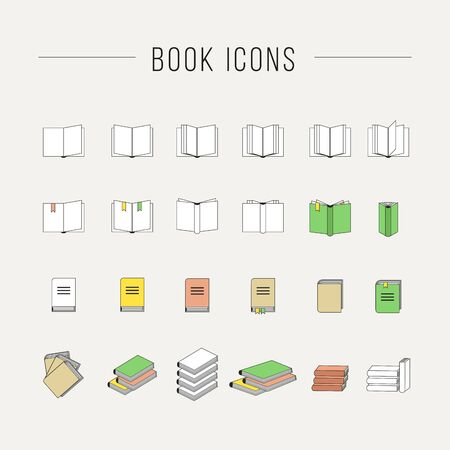 nonfiction: Simple set of books related vector icons for your design.