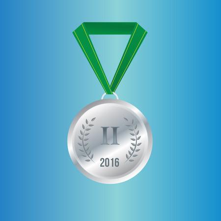 silver medal: Silver medal. Brazil. Rio. Medals vector illustration.