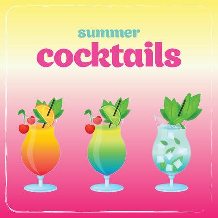 summer holidays: Alcohol cocktail set. Summer holidays vector illustration set with cocktails.