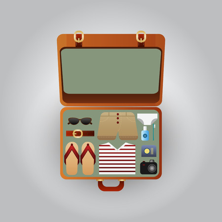 open suitcase: Open suitcase with clothes for the beach Illustration