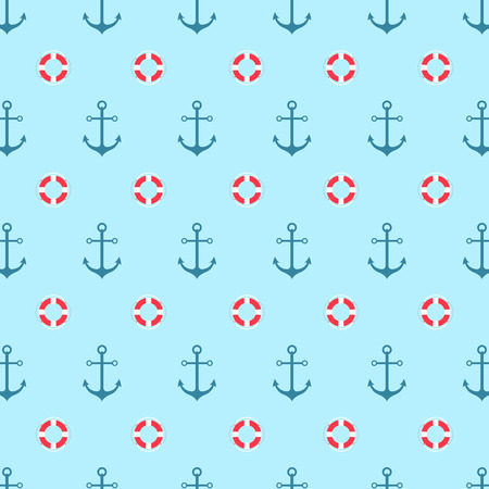 lifeline: Seamless pattern with a lifeline and anchor. Bright sea background.