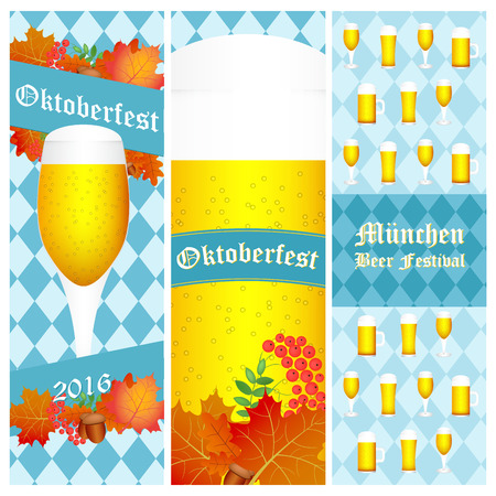 bier: Oktoberfest 2016 vertical banners isolated on white.