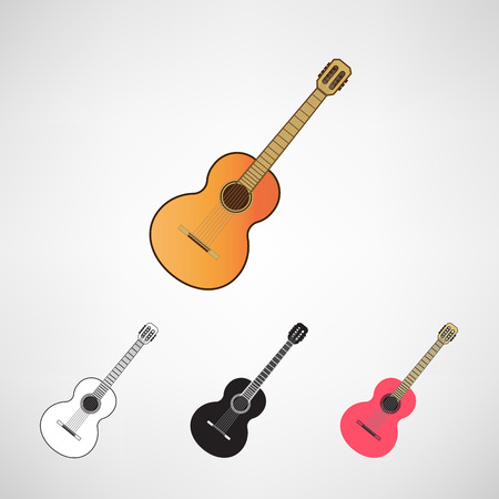 headstock: acoustic and electric guitars set