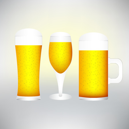 excellent quality: set with different glasses of beer on white- excellent quality.