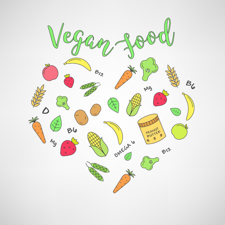 inforgaphic: set of the vegan food icons. Vegetables and fruits. Thin line icons. Hand drawn typography.