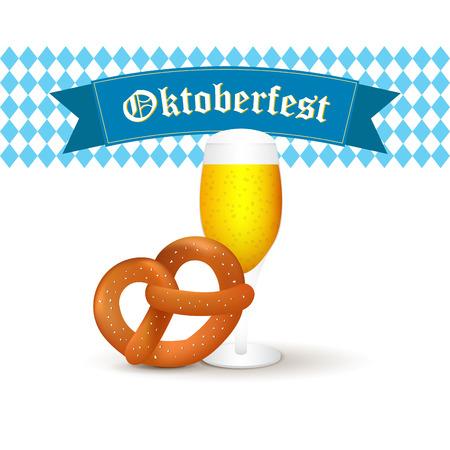 bier: Bavarian beer mug with pretzel isolated on white background. Illustration