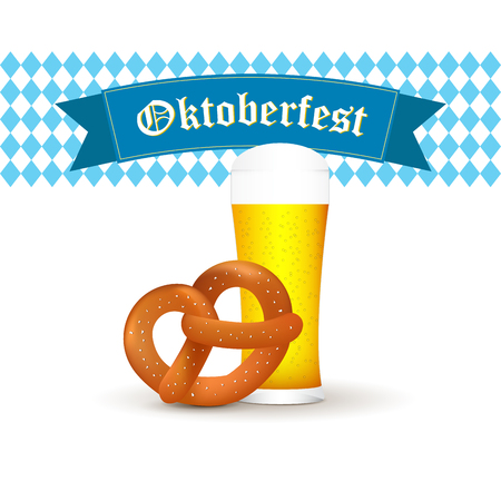 Bavarian beer mug with pretzel isolated on white background. Illustration