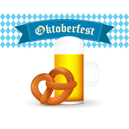 beer stein: Bavarian beer mug with pretzel isolated on white background. Illustration
