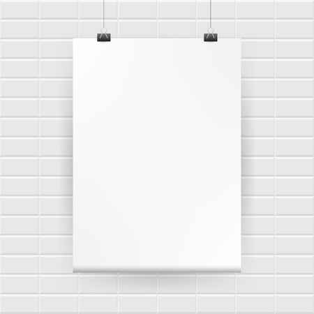 stonewall: Blank white poster hanging on brick wall
