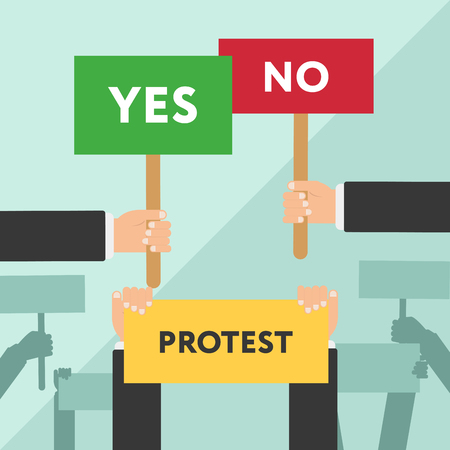 workers rights: Hand holding protest sign flat illustration