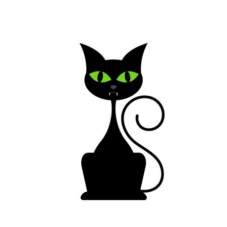 moggy: Black cat isolated on white background