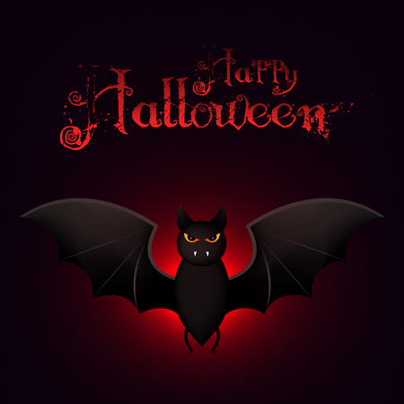 darkness: Happy Halloween Card Template with Lots of Flying Bats in the Darkness.