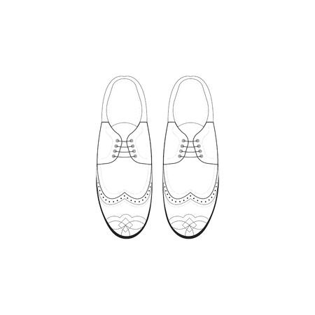 brogue: hand drawing illustration with men fashion shoes. Classic Brogue Shoes. Oxfords Mens Shoes Illustration