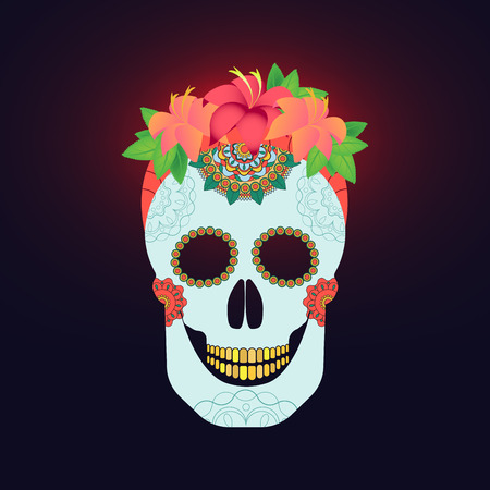 flower arrangement: Traditional mexican catrina skull with paint decoration and colorful spring time flower arrangement on hair.