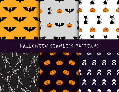 cute wallpaper: Set of halloween backgrounds. Collection of seamless patterns in the traditional holiday colors.