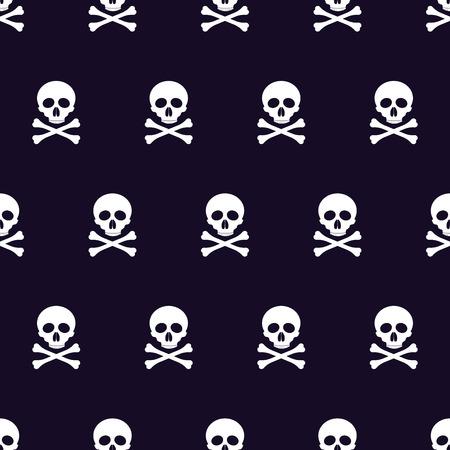 glum: seamless pattern with skulls and bones black background.