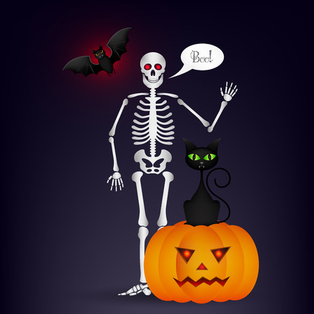 Halloween night background with full moon, cute dancing skeletons and bats.
