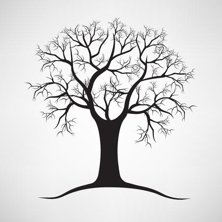 Schwarze Silhouette eines kahlen Baum Vektorgrafik