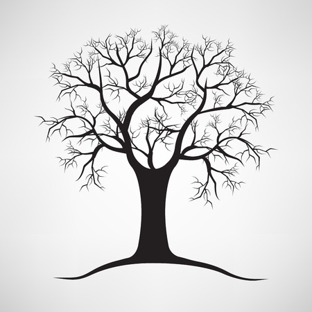 Black silhouette of a bare tree Illustration