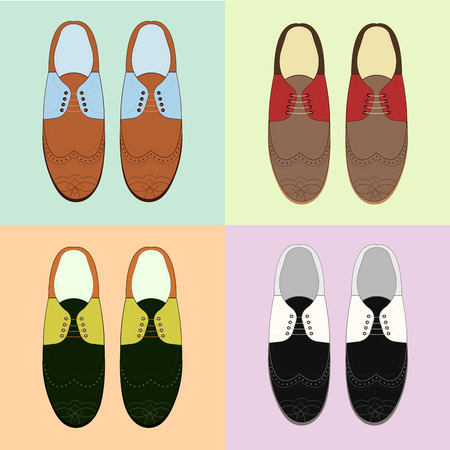 Set of classic mens shoes. Retro style. Various color.