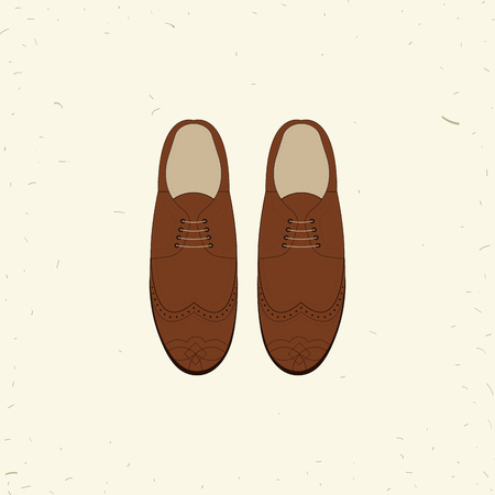 brogue: illustration with men fashion shoes. Classic Brogue Shoes. Oxfords Mens Shoes Illustration