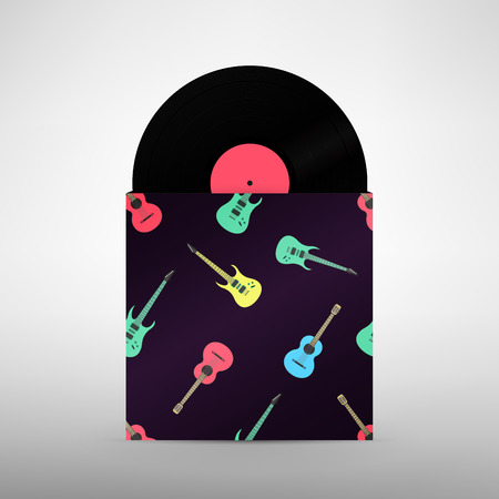record cover: Guitar music. Rock band design template. Vinyl Record with Cover Mockup Illustration