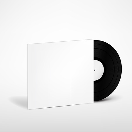 record cover: Vinyl Record with Cover Mockup Illustration