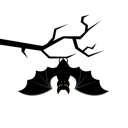 Cartoon bat hanging on tree branch. Happy Halloween card.