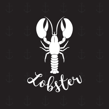 Seafood restaurant template with lobster on white background Illustration