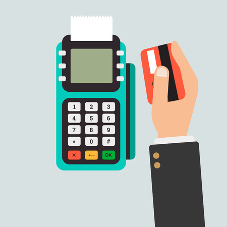 usage: Pos terminal usage concept in flat style. Concept of cashless payment and credit card payment.